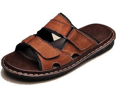 3 Color Fulinken Size 5-12 New Leather Slip On Casual Beach Sandals Mens Shoes