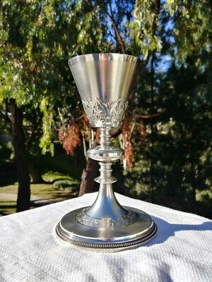 Antique Sterling Solid Silver Chalice French Gothic Catholic Gold Guilded Cup A+