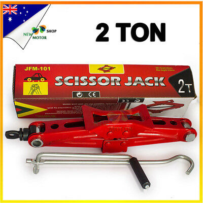 2 Tonne Automotive Scissor Car Jack Lift with Ratchet Wrench SUV 110mm-370mm RED