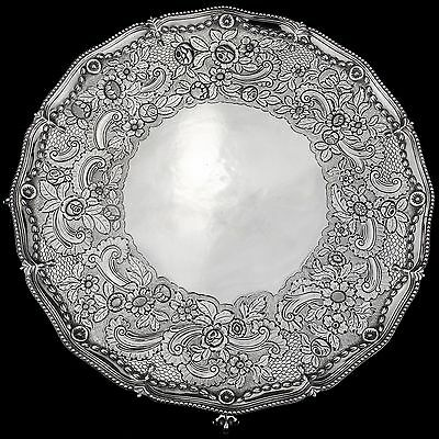Antique Ornate George III Solid Sterling Silver Salver/Tray London 1773, 1,295g.
