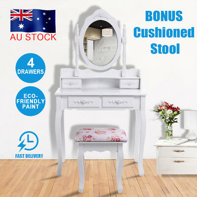 Luxury Dressing Table&Stool Mirrors Jewellery Cabinet 4 Drawers Makeup Organizer