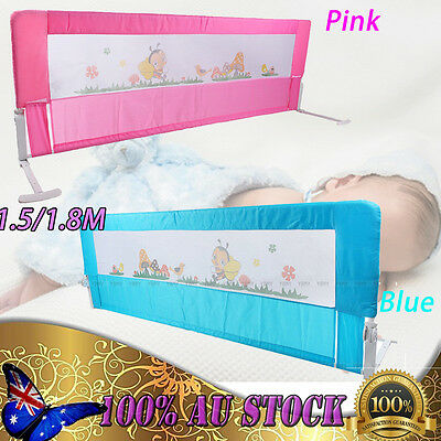 Child Toddler Pink/Blue Safety Bed Rail Baby Bedrail Fold Cot Guard Protection D