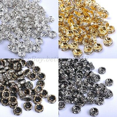 100Pcs Czech Crystal Rhinestone Silver Rondelle Spacer Beads 4/5/6/7/8/10/12MM
