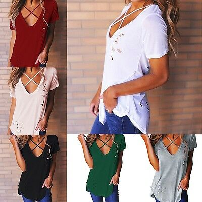 Summer Womens V Neck Lace Up T-Shirt Short Sleeve Loose Tops Casual Blouse Hot