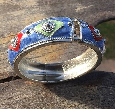 Blue Red & Green Diamond Patterned Enamelled Hinged Silver Tone Bangle.G34