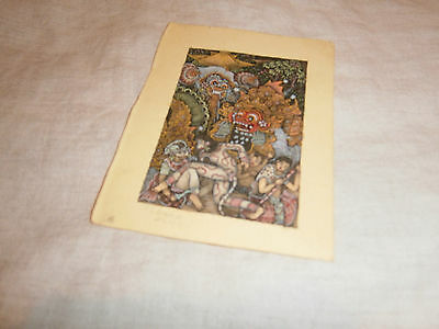 1991 Small Hand Painted/drawn Bali Print - 6 X 9 Cms (Paper Slightly Larger)