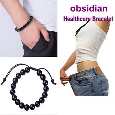 Chic Round Obsidian Stone Healthcare Bracelet Healthcare Weight Loss Bracelet .*