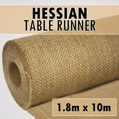 10m x 1.8m DELUXE Hessian Roll Vintage Rustic Natural Wedding Table Runner