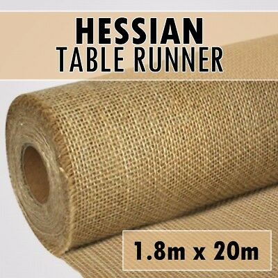 20m x 1.8m DELUXE Hessian Roll Vintage Rustic Natural Wedding Table Runner
