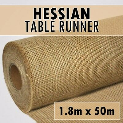 50m x 1.8m DELUXE Hessian Roll Vintage Rustic Natural Wedding Table Runner