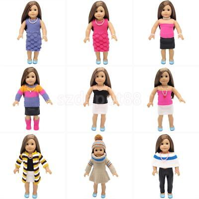 Trendy Doll Sweater Outfit Clothes Necklace Bracelet for 18'' American Girl Doll