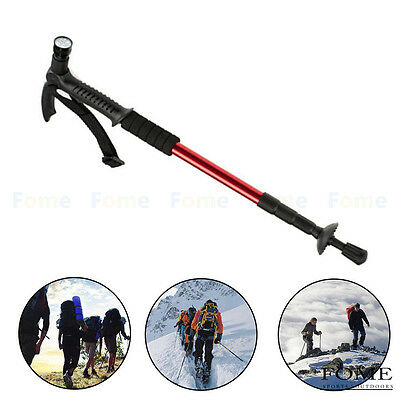 Aluminum Alloy Walking Cane Stick Trekking Poles with LED for Hiking Red