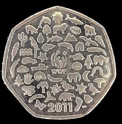 WWF 50p Coin Celebrating 50 Years Of The World Wildlife Fund 2011 Circulation