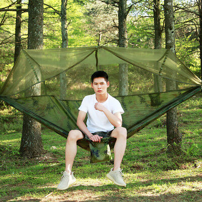 Camouflage Outdoor Camping Hammock Mosquito Net Hanging Swing Sleeping Bed