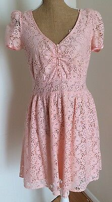 Atmosphere Ladies Summer Dress Size 12 Eu 40. Pink. Lined. Short Sleeves. Lace.