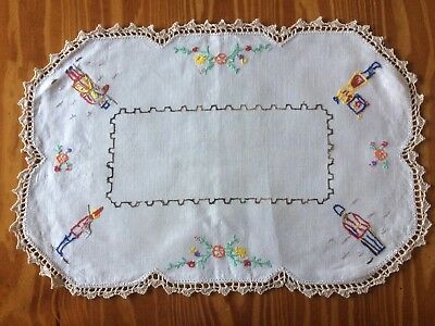 """Vintage 'Soldier/Guard"""" Hand Embroidered Doily - 49 cm x 33cm"""