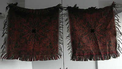 "2 Antique Colorful Folklore Arts & Crafts Dutch Paisley Shawl ""bietkleed"" Doily"
