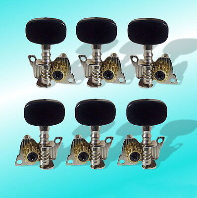 6 Machine Heads 3L/3R Open Cog Black Button Steel String Guitar Tuners UK