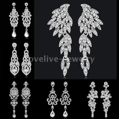 Elegant Silver Diamante Crystal Long Dangle Drop Earrings Bride Wedding Jewelry