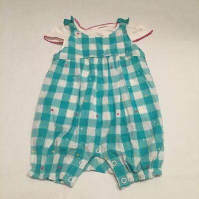 NEW Mini B green checked dungarees outfit Baby girls clothes 3-6 Months