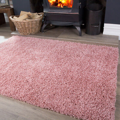 NEW Blush Colour Light Rose Pink Warm Shaggy Area Rug Living Room Floor Rugs
