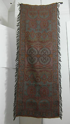 "Antique Colorful Folklore Arts & Crafts Dutch Paisley Shawl ""bietkleed"" Runner"