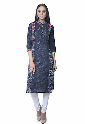 Indian Bollywood Designer New Lagi Printed Flower Cotton Kurti Women Ethnic