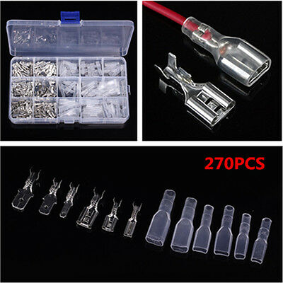 270Pcs Male & Female Spade Connector Wire Crimp Terminal Block 2.8mm 4.8mm 6.3mm