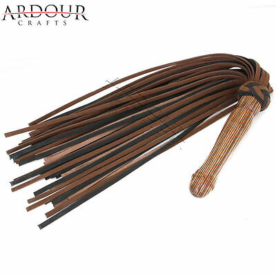 Genuine Real Nubuck Thick Leather Flogger 50 Tails Laminated Carved Wood Handle