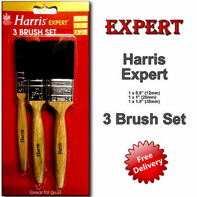 Expert Paint Brush Set Harris 3 Brush Pack 0.5in-1in-1.5in Decorating Painter