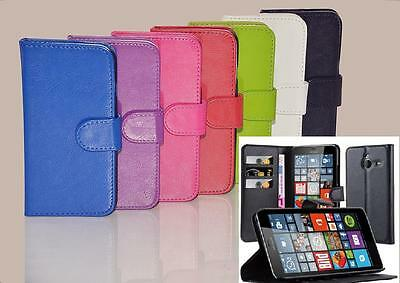 NEW Wallet Leather Flip Book Stand Case Cover For Microsoft Nokia Lumia Phones