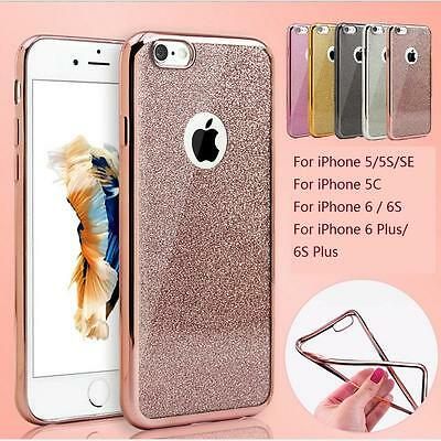 New Bling Glitter ShockProof Silicone Case Cover For iPhone X 5 SE 5C 6 7 8 Plus