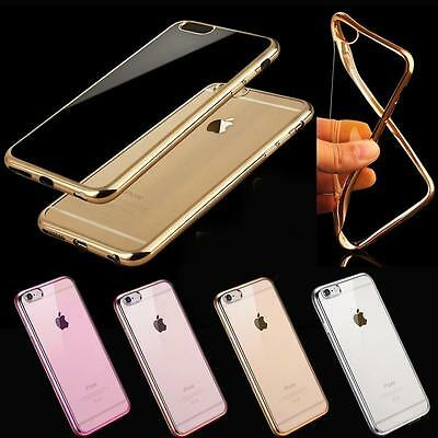 Shockproof Silicone/Rubber Metal Bumper Clear Case Cover For iPhone SE 6 6S 7 8