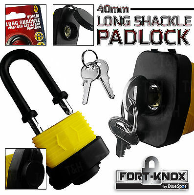 Heavy Duty WATER PROOF Long Shackle Padlock 40mm Hardened Steel & Rubber Casing