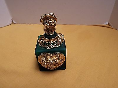 Vintage Satin Glass Perfume Bottle With Goldtone Metal Roses And Star Rare