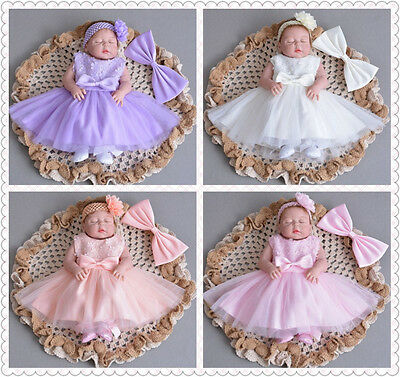 5 Colour Elegant Lace Baptism Dress Bow Christening Gown Baby Christening Dress