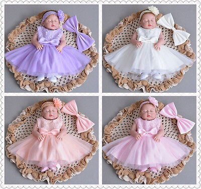 5 Colours Elegant Embroidery Lace Baptism Dress Baby Bow Christening Party Gown