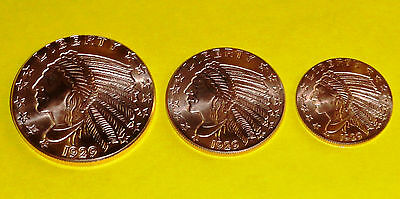 Incuse Indian • 1929 • 3 New Coins • 3 Different Sizes .999 Fine Copper Bullion
