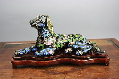 20th C. 80's Chinese Cloisonné Recumbent Dog