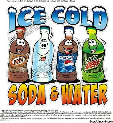 Ice Cold Soda & Water Food Truck Concession Restaurant Sign Decal (Pick Size)