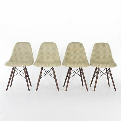 Green and Yellow Check Set 4 Herman Miller Vintage Original Eames Side Chairs