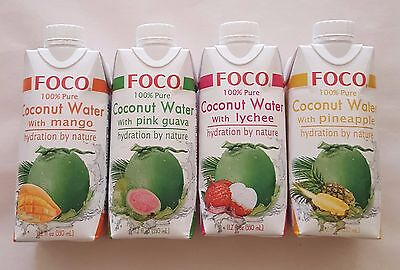 "2X ""FOCO"" 100% pure Coconut Water with extras , hydration by nature 330ml"