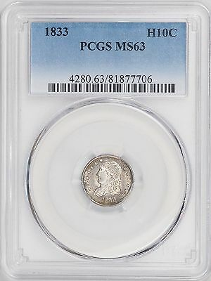 1833 Capped Bust Half Dime Pcgs Ms63