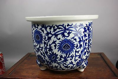 20th C. Chinese Blue And White Flower Pot