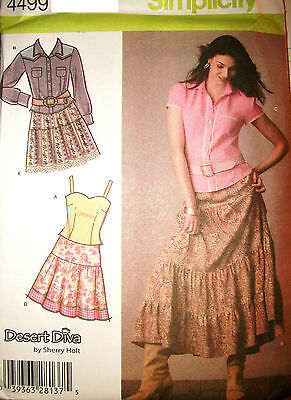 Ms Simplicity 4499 Pattern Sherry Holt Tier Skirt Cami UNCUT Size 6-8-10-12-14