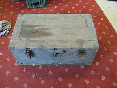 Vintage Strong Old Wooden Box T&G with metal corner protection. End Handles