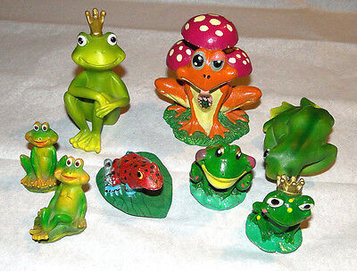 Whimsical Princess Colorful Frog Sculptures Figures Decorations Lot
