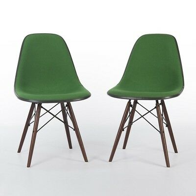 Green Pair (2) Herman Miller Vintage Original Eames Upholstered DSW Shell Chair