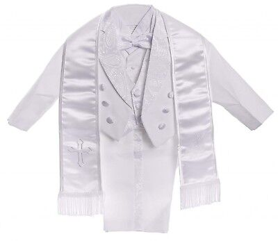 Baby Boys All White Christening Outfit, Tail Paisley Tuxedo Suit Design,...