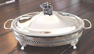 Vintage Footed Silver Plate Serving Dish W/ Oval Pyrex Cookware